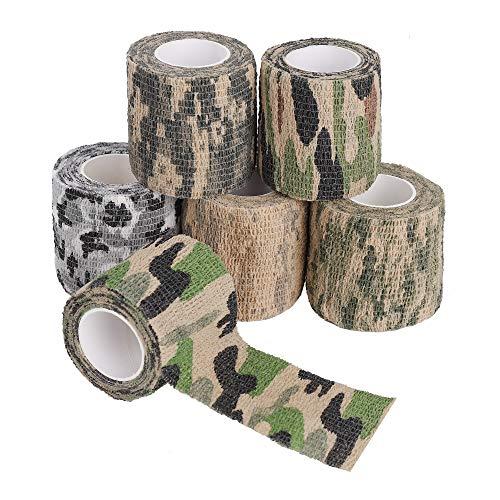 Heveer Camouflage Band Selbstklebende Bandage Multifunktions Tarnung Klebeband für Outdoor Jagd Camping Fotografie Radfahren 6 Rolle