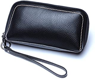 Leather Women's Wallet with A Cowhide Leather Cosmetic Wallet Leather Long Wallet Waterproof (Color : Black, Size : S)