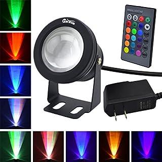 RUICAIKUN LED Flood Light 10W Waterproof Outdoor US Plug RGB Light with Remote Control (DC/AC 12V),Above Ground Pool Light