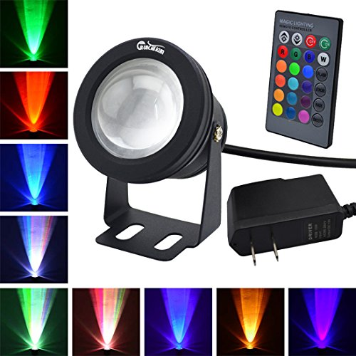 RUICAIKUN LED Flood Light 10W Waterproof Outdoor US Plug RGB Light with Remote Control (DC/AC...