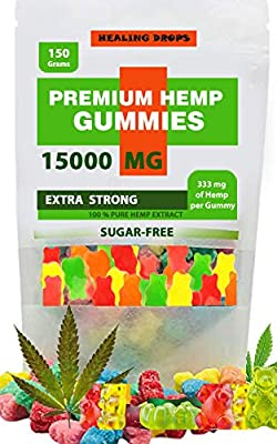 Premium Organic Hemp Sugar-Free Gummies Natural Health Support 15000mg High Potency Relaxing Stress & Anxiety Relief Rich in Vitamins B E C D Omega 3, 6, 9 Super Friendly Gummy Bears (15000mg)