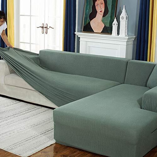 Funda de sofá elástica de Felpa Fabirc, Fundas de sofá en Forma de L sólidas, Fundas de Terciopelo para Sala de Estar, Funda de sofá elástica A16, 3 plazas