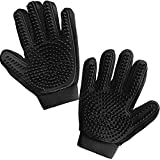 Gorilla Grip Pet Grooming Gloves, 262 Soft Grooming Nubs to Brush Pets, Hair Removal Mitts Remove Cat and Dog Shedding Loose Fur, Easy Clean, for Massaging, Bathing, and Petting Dogs, Cats, Black Pair