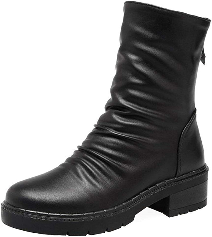 Gcanwea Women's Casual Round Toe Back Zipper Slouchy Ankle Booties Medium Block Heel Platform Short Boots Increased Internal Joker Ladies Comfortable Skinny Black 4 M US Short Boots