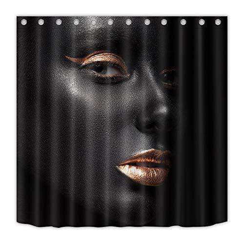 ZZZdz meisjes met gouden lippenstift en oogschaduw. Douchegordijn. 180 x 180 cm. 12 vrije haken. Waterdicht. Eenvoudig te reinigen. Badkameraccessoires.