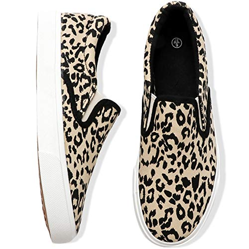 Adokoo Women's Fashion Sneakers Slip on Sneakers Casual Leopard Shoes (US11,Leopard)