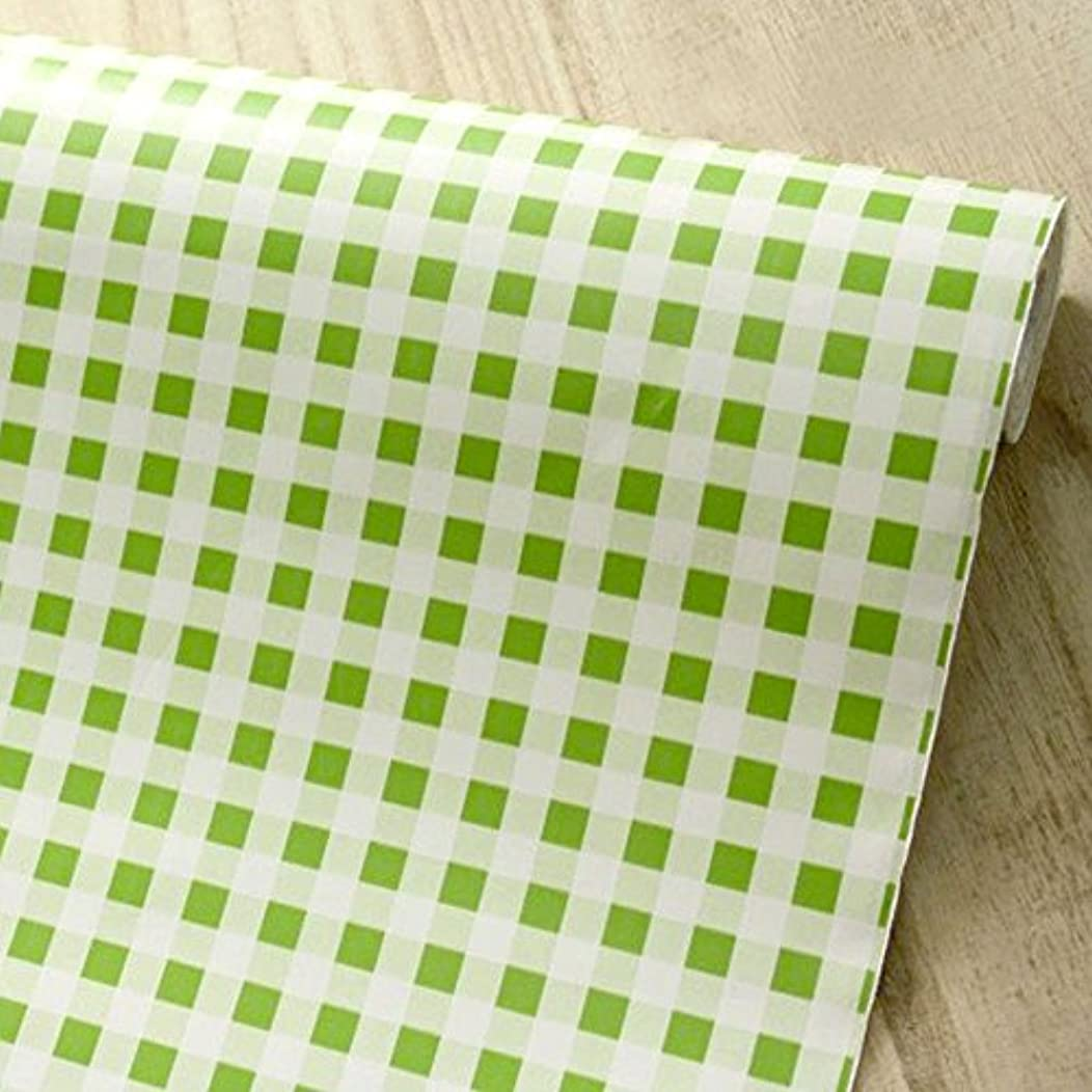 Yifely Self-Adhesive Shelf Liner Removable Contact Paper for Rent House Old Furniture Decor, Green Checkered, 17.7 Inch by 9.8 Feet
