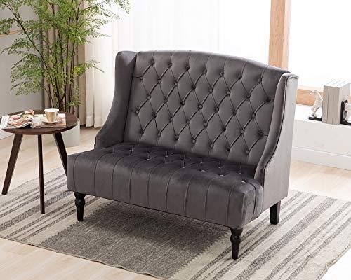 Artechworks Velvet Tufted High Back Loveseat Sofa for Living Room, Bedroom, Home Office, Hosting Room, Wingback Club Chair, Grey Color