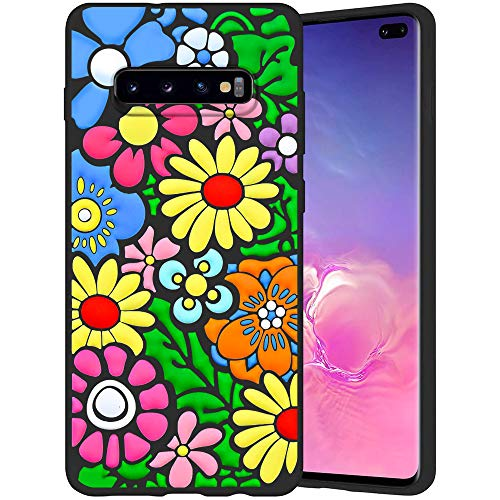 JOYLAND Floral Flower Phone Case Cover for Galaxy S10 Plus Colorful Wildflowers Phone Cover Slim Fit Flexible Matte Shock Absorption Phone Case Shell Compatible for Samsung Galaxy S10 Plus