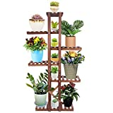 Wood Plant Stands, Astory Indoor Outdoor Plant Shelf Multi Layer Vertical Planter Holder Flower Shelf Rack Balcony Patio Yard Flower Ladder Stair Storage Shelf (6 Tiers 7 Flowerpots)