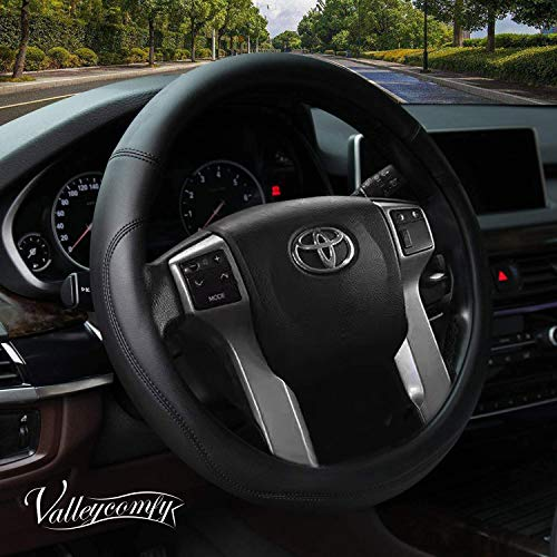 Valleycomfy Microfiber Leather Steering Wheel Cover Large-Size for F150 F250 F350 Ram 4Runner Tacoma Tundra Range Rover Model S X with 15 1/2 inches-16 inches Outer Diameter (Black)