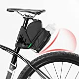 All In One Strap-On Bike Saddle Bag,Multi-Angle Adjustable High Capacity Bike Waterproof Storage Bag Both Sides Reflective Tail Bag Cycling Supplies