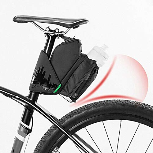 All In One Waterproof Bike Saddle Bag with LED Light Stripes and Reflective Logos on - Multi-angle Adjustable High Capacity Bike Waterproof Storage Bag Both