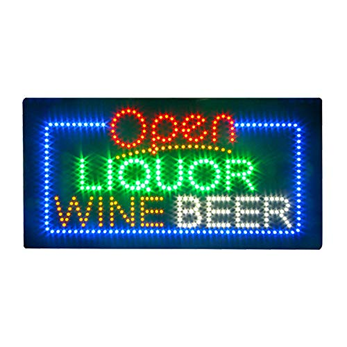 Liquor Beer Wine Sign for Liquor Store, Super Bright Electric Advertising Display Board for Bar Pub Club Business Shop Store Window Bedroom Decor (HSO1156)