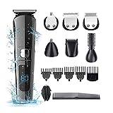 Beard Trimmer For Men, HAMSWAN Cordless Hair Trimmer 11 in 1 Mustache Trimmer for Men IPX7 Waterproof Hair Trimmer Set with LED Display, Nose Ear Facial Hair Body Groomer, Best Beard Trimmer Gift