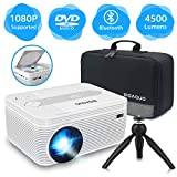 BIGASUO Mini Bluetooth Projector with DVD Player, 4500 Lumens Portable Video Projector 720P