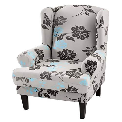 JuneJour Ohrensessel Husse Schonbezug Sesselüberwürfe Schonbezug Elastische Sesselbezug Vintage Sofaüberwurf Stretch Schutzhülle Sessel Husse für Ohrensessel (Graues Muster)