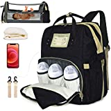 Diaper Bag Backpack with Portable Crib for Baby Girls Boys Stylish 3 in 1 Diaper Bag with Changing Station Travel Bassinet Foldable Bed, Large Capacity Diaper Bags Waterproof USB Port(Black)