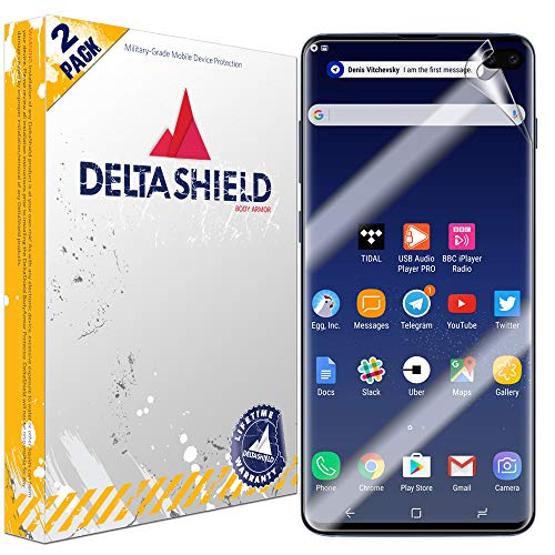 DeltaShield Screen Protector for Samsung Galaxy S10 Plus (S10+ 6.4 inch) (2-Pack) (Slim Design for Cases) BodyArmor Anti-Bubble Military-Grade Clear TPU Film