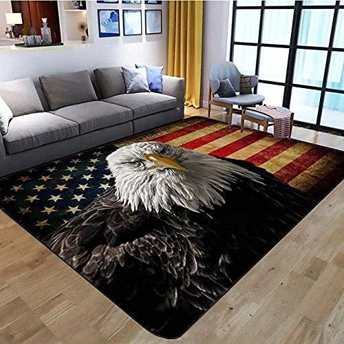 Home Kurzflor Wohnzimmer Teppich Schlafzimmer Bettvorleger Outdoor Carpet für Hochwertiger Öko Home flauschig Teppich Rotgraue Flagge Schwarzgrauer Adler 200x300 cm