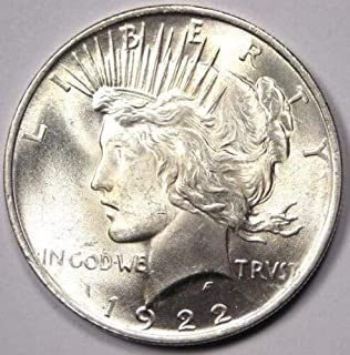 1922 Peace Dollar BU 90% Silver $1 Beautiful Uncirculated Mint State US Mint