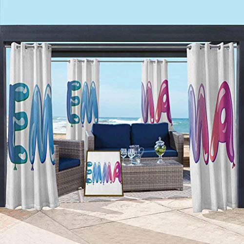 ParadiseDecor Emma Washable Curtains for Pool/Gazebo/Lawn Feminine Girl Name Design with Ornate Balloons Mainstream Female Themed Illustration Multicolor 76W x 108L Inch