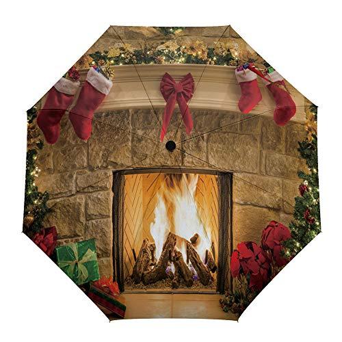 Faltbarer Reise-Regenschirm für Neujahr, Weihnachtsabend, Kamin-Ornamente, automatisches Öffnen/Schließen, kompakter winddichter Regenschirm für Mädchen/Frauen/Erwachsene