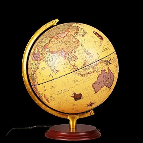 Weinlese-Antike globus beleuchtet Dekorative eingebaute LED für beleuchtete Nachtsicht Antique Globe Lampe für Kinderhausdekoration und Office Desktop, 32cm,Europäischen Stil