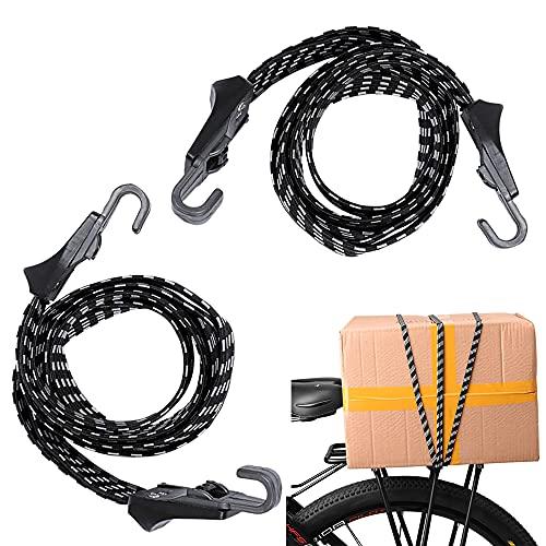 Pulpos Elasticos Transporte 2 PCS Cuerdas Elasticas Bicicleta, Cuerda Elástica Fija Multifuncional para Equipaje de Motocicleta y Bicicleta con Gancho