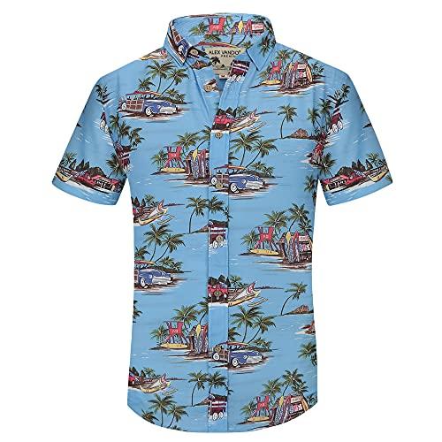 Alex Vando Mens Casual Button Down Hawaiian Shirts Short Sleeve Beach Shirt,Blue Car,XXL