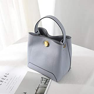 Runhuayou New Individual Shoulder Slung Handbag Casual White Silk Scarf Bucket Bag Savage Leather Handbag Great for Casual or Many Other Occasions Such (Color : Blue)