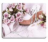 MSD-Tappetino per mouse in gomma naturale, gioco foto ID: 13594537 in stile Vintage, con motivo: anelli di matrimonio per scarpe e fiori su sfondo bianco
