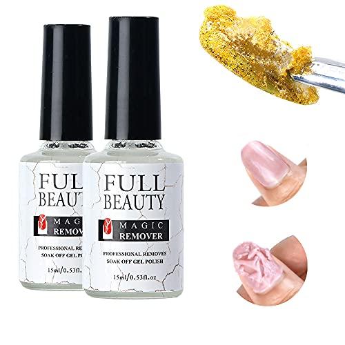 Nagellak Remover 2 stuks Magische nagellakremover 15ml Nagellak verwijderaar voor Nagellak Verwijderen en Nagellak…