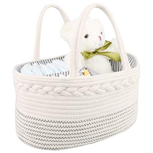 Baby Diaper Caddy Organizer by GESUNDHOME - Rope Nursery Storage Bin for Boys and Girls - Portable Diaper Basket with Removable Inserts and Handles - Newborn Registry Must Haves (Black & White)