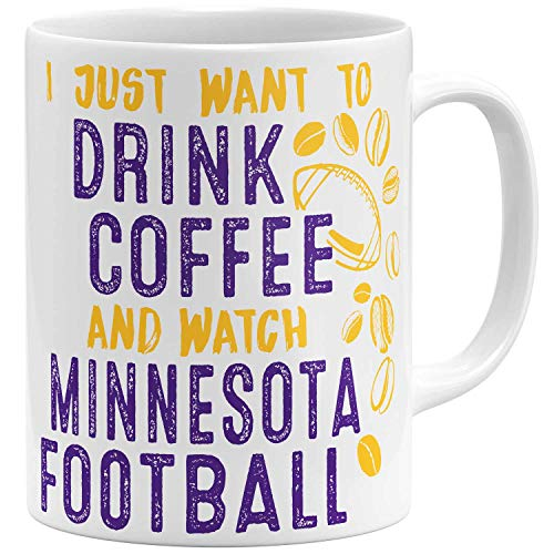 OM3 - Taza de café Minnesota - Taza | Taza de cerámica | Taza de fútbol americano | 325 ml | Impresión por ambos lados | Color blanco.