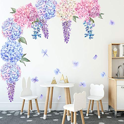 Bamsod Lavender Wall Stickers Flower Wall Decals Removable Art Floral Wall Stickers for Nursery Living Room Bedroom Classroom Decoration
