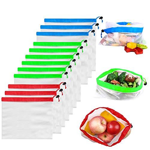 Reusable Produce Bags Kmeivol 12 Pack Produce Bags EcoFriendly Produce Bags Grocery Reusable Washable and See Through Mesh Produce Bags Mesh Bags for Vegetables3 Small 6 Medium 3 Large