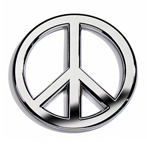 Chrome Plated Peace Sign Car Emblem With Rust-Proof ABS Plastic Core