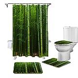 HGFHKL Cortina de Ducha Verde Bosque de bambú, Juego de Fundas para Asiento de Inodoro, Accesorios para Inodoro, Alfombrilla...