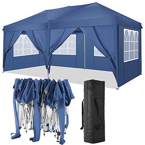TOOLUCK 3x6m Carpas Plegables Impermeable Cenadores para Jardin Carpa Playa Protección UV con 6 Paneles Laterales, Toldos Exterior Terraza para Jardín Fiesta etc (3x6m con 6 Paredes Laterales, Azul)