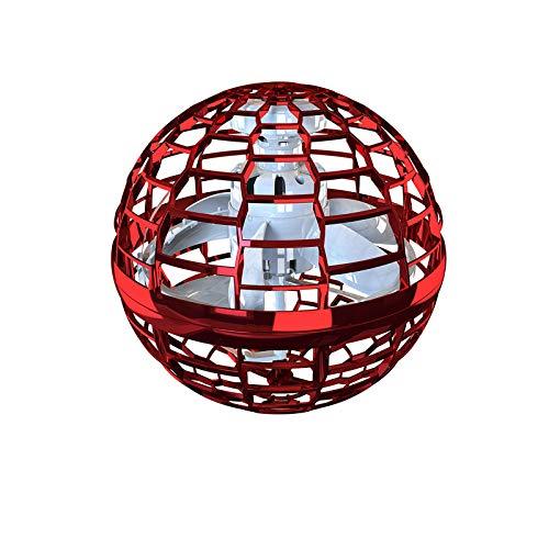 Fliegendes Spielzeug, drohne für kinder kugelform magischer controller flugspielzeuge fliegender Ball, Hubchrauber Spielzeug Fliegender Spinner 360° Drehbare Rotierende LED Leuchten für Kinder (Red-1)