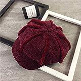 mlpnko Personnalité chaleureuse Mode Casquette octogonale Femme béret décontracté Chapeau Chapeau de Citrouille rétro Rouge vin Rouge M (56-58cm)