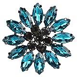 Atyhao 2 Piezas de Diamantes de imitación de Flores de Vidrio Colorido Apliques de Vidrio para broches de Ropa Bolsos Vestido cinturón Insignia Zapatos Accesorios para el Cabello(Azul eléctrico)