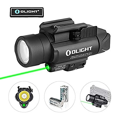 OLIGHT Baldr Pro 1350 Lumens Tactical Weaponlight with Green Light and White LED, 260 Meters Beam Distance Compatible with 1913 or GL Rail, Powered by 2 x CR123A Batteries (Black)