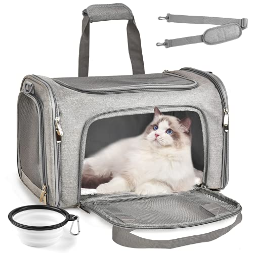Katzentragetasche mit Schultergurt, EZGETOP Faltbare Hundetragetasche Hundetransportbox hundetransportkäfig, mit Faltbare Hundenapf für Hunden oder Katzen