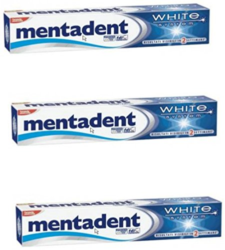 Mentadent'White System' Toothpaste 2.53 Fluid Ounce (75ml), Pack of 3
