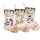 XONOR Calcetín de Navidad, 3 piezas, franela y muñeco de nieve impreso, Papá Noel, decoración de fiesta de reno, 30 cm