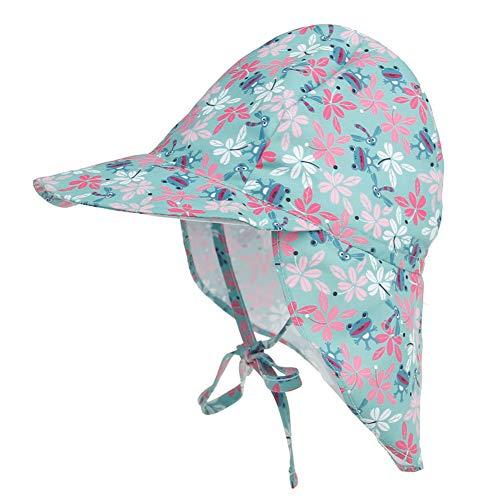 Happy Cherry - Baby Sonnenhut Jungen Mädchen Bindemütze mit UV Schutz Kappe Mütze Kinder Schirmmütze mit Nackenschutz Bindebändern UV Schutz Atmungsaktiv Schnelltrocknend - Blau - 2-5 Jahre