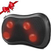RENPHO Massagekissen, Nackenmassagegerät mit Wärmefunktion für Nacken Schulter Rücken, Rückenmassagegerät mit rotierenden Massageköpfen für Auto Büro Zuhause, 3 Geschwindigkeiten