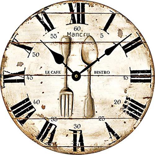 Mancru 1CM Pulgadas de Espesor Vendimia Sin Cubierta Silencio Reloj de Pared Lamentable de Madera Grande y Redondo Sin tictac Reloj de Pared Decoración Reloj 14-30CM